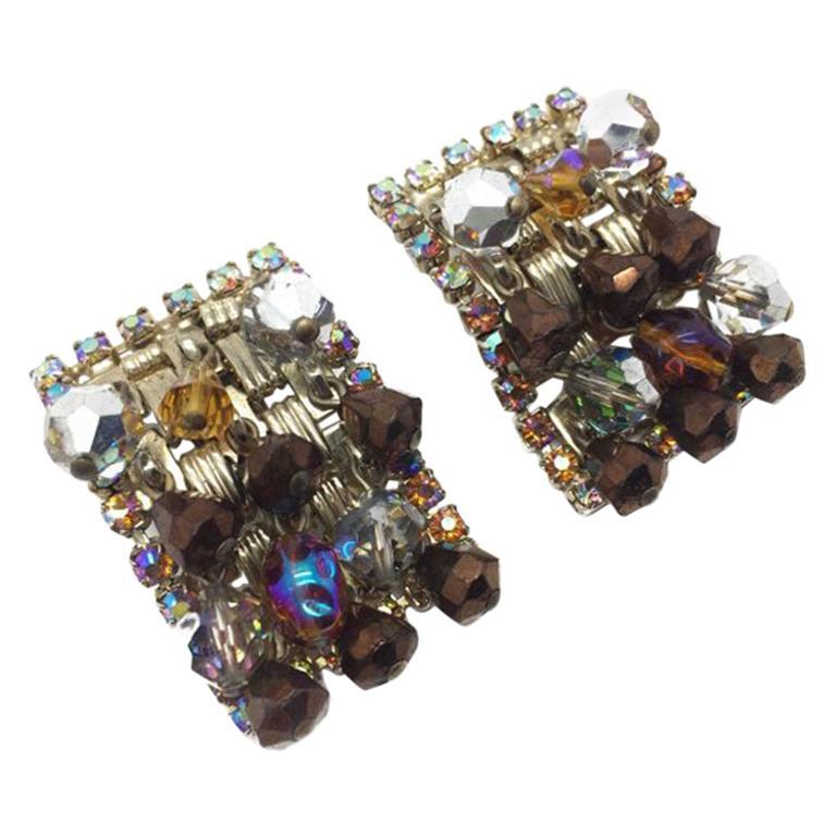 Vintage Hobe Crystal Cascade Clip Earrings 1950S For Sale