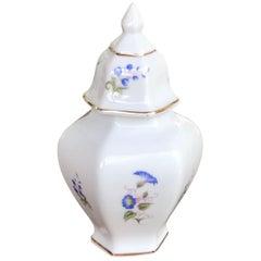 Vintage Hollohaza Porcelain Urn with Flower Pattern, Stamped