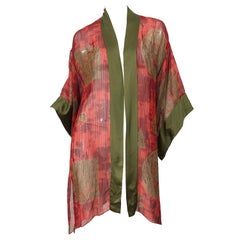 Vintage Holly's Harp Red Olive Green Gold Silk Chiffon Sheer Kimono Jacket