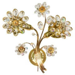 Vintage Hollywood Regency 24 Karat Gold, Crystal Palwa Sconce, Wall Light, 1960s