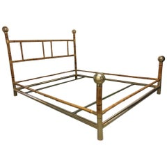 Vintage Hollywood Regency Brass and Bamboo Bed, circa 1970s
