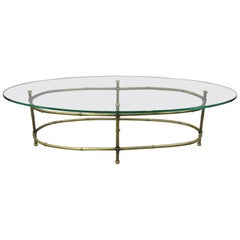Vintage Hollywood Regency Brass Faux Bamboo Oval Glass Top Italian Coffee Table