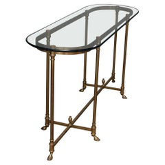 Vintage Hollywood Regency Brass and Glass Sofa Table, 20th Century