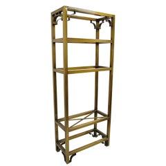 Vintage Hollywood Regency Burnished Brass Bronze Finish Etagere Bookcase Shelf