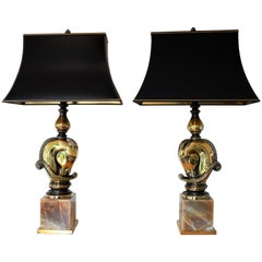Vintage Hollywood Regency Chess Piece Horsehead Table Lamps, Maison Charles 1970
