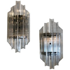 Vintage Pair Hollywood Regency Chrome and Lucite Wall Light Sconces