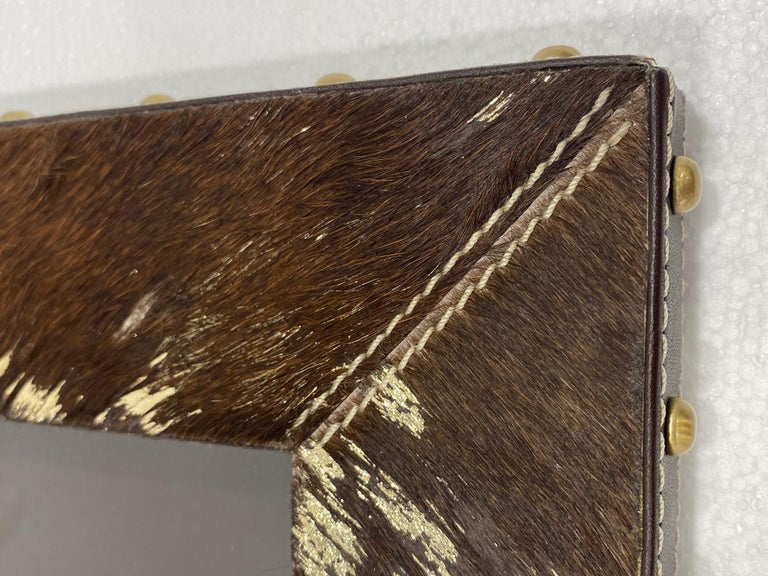 Vintage Hollywood Regency Cowhide and Gold Metallic Picture Frame For Sale 3