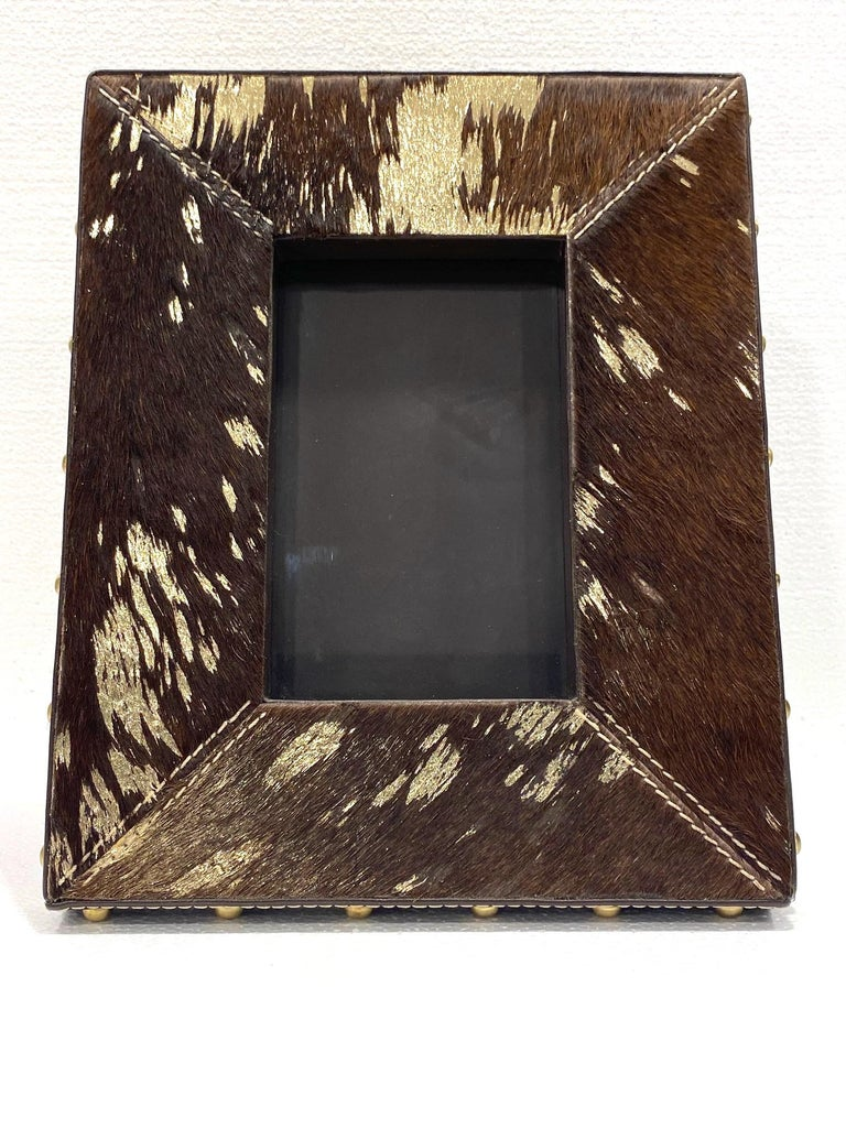 American Vintage Hollywood Regency Cowhide and Gold Metallic Picture Frame For Sale
