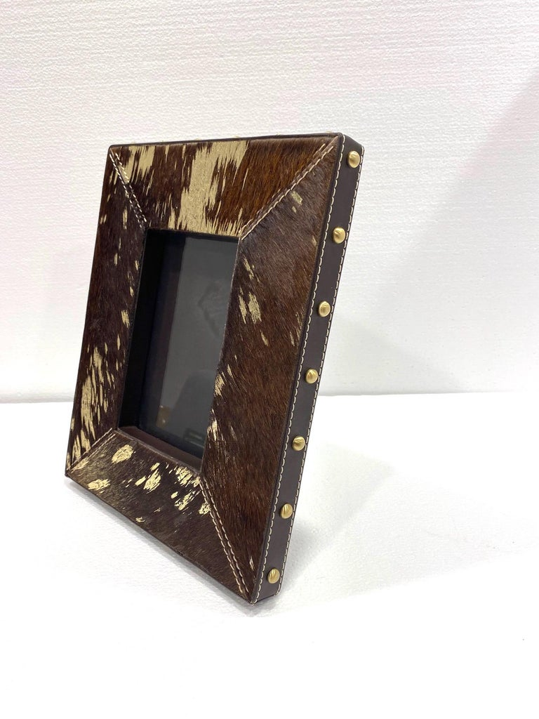 Contemporary Vintage Hollywood Regency Cowhide and Gold Metallic Picture Frame For Sale