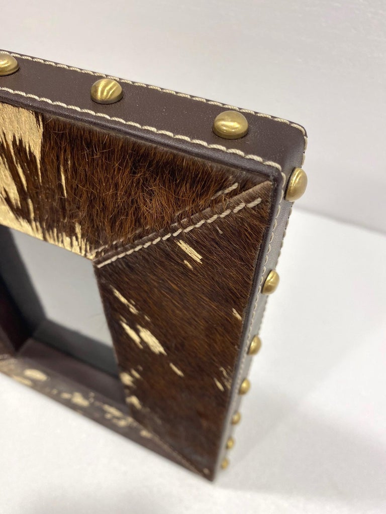 Brass Vintage Hollywood Regency Cowhide and Gold Metallic Picture Frame For Sale