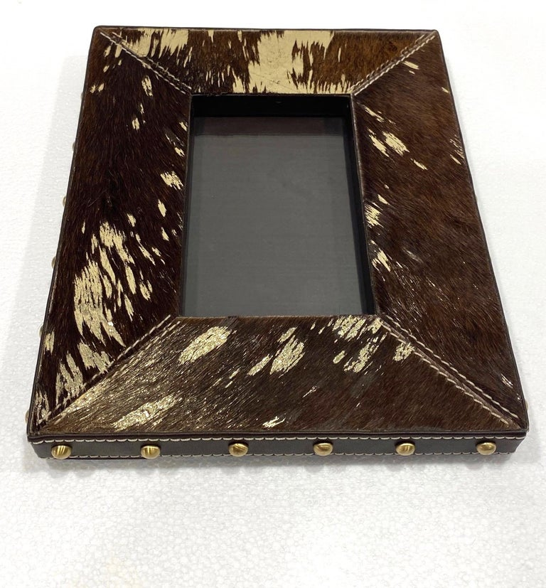 Vintage Hollywood Regency Cowhide and Gold Metallic Picture Frame For Sale 1