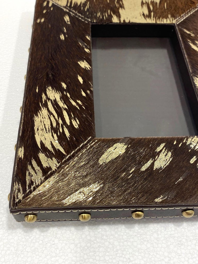 Vintage Hollywood Regency Cowhide and Gold Metallic Picture Frame For Sale 2