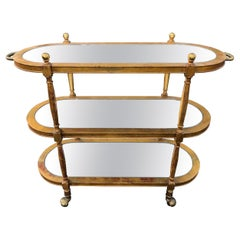 Vintage Hollywood Regency Gilt Wooden Bar Cart