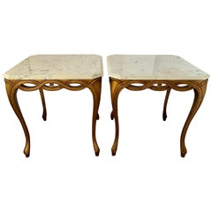 Vintage Hollywood Regency Gold Giltwood Marble-Top End Tables Mid-Century Modern