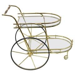 Vintage Hollywood Regency Italian Brass Plated Metal Rolling Bar Liquor Cart