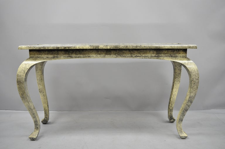 Vintage Hollywood Regency James Mont Style Console Hall Sofa Table For Sale 4