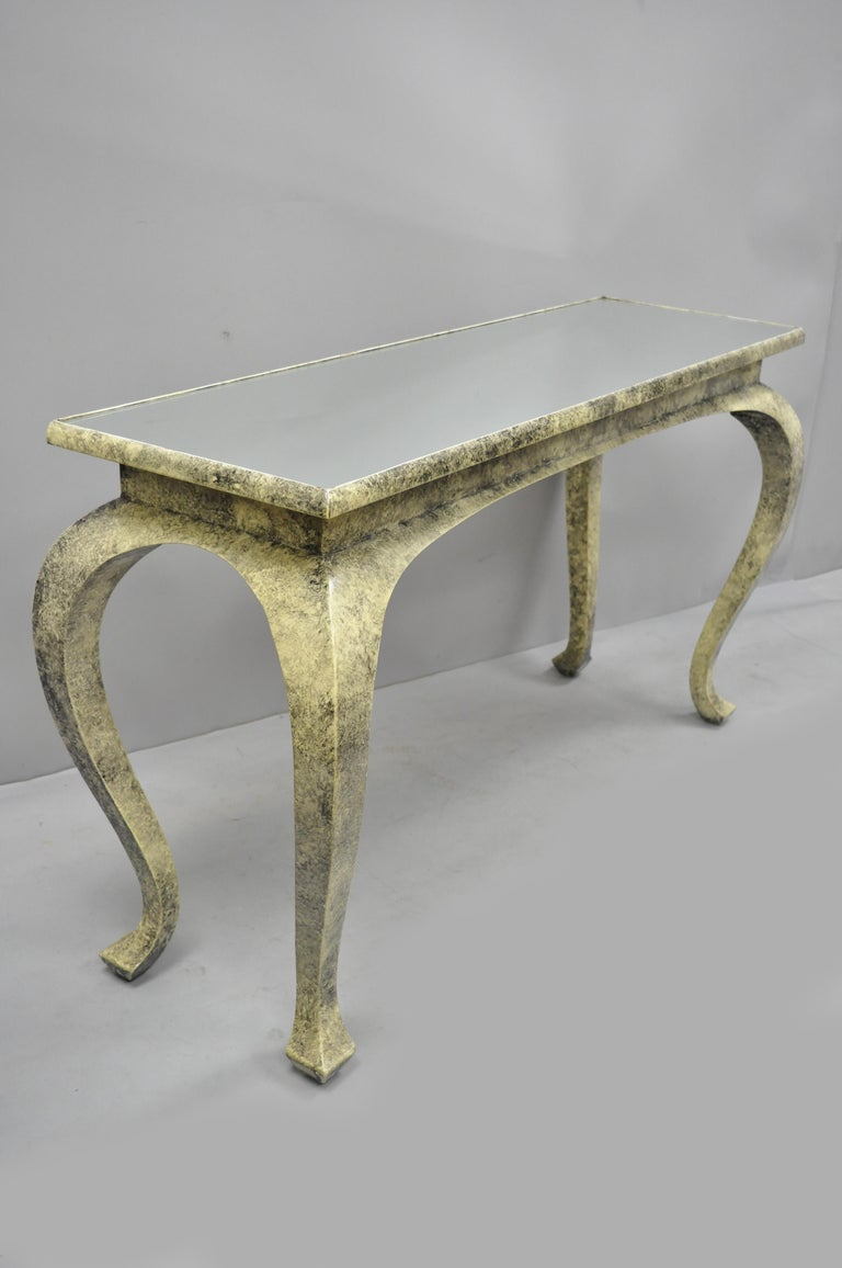 Vintage Hollywood Regency James Mont Style Console Hall Sofa Table For Sale 6