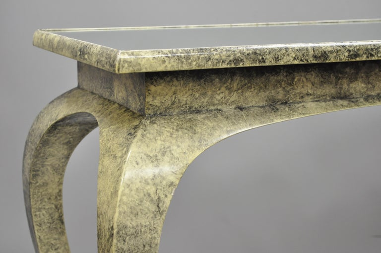 Vintage Hollywood Regency James Mont Style Console Hall Sofa Table In Good Condition For Sale In Philadelphia, PA