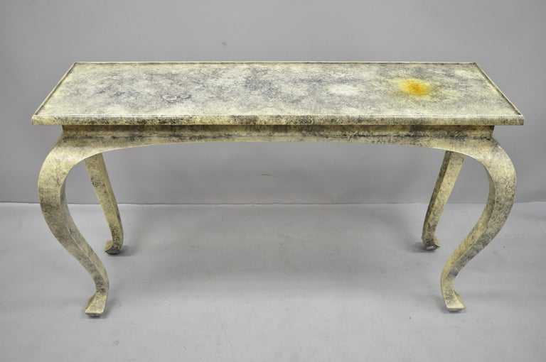 Vintage Hollywood Regency James Mont Style Console Hall Sofa Table For Sale 1