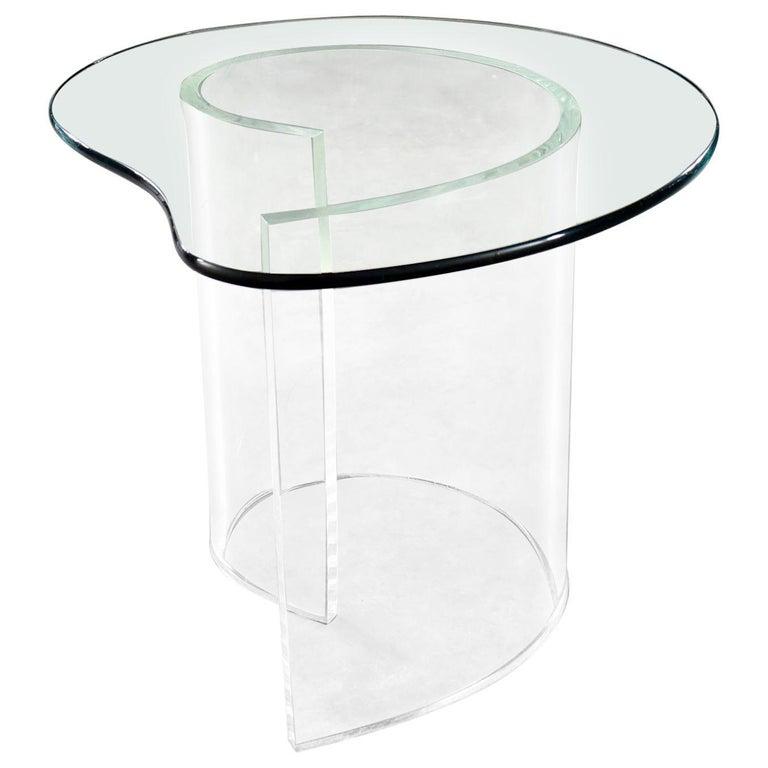 Vintage Hollywood Regency Lucite Snail Spiral End Table Kidney Shaped Glass Top For Sale