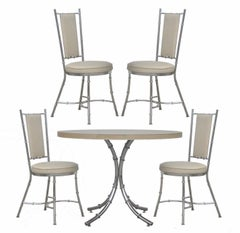 Vintage Hollywood Regency Modern Chrome Faux Bamboo Dining Set
