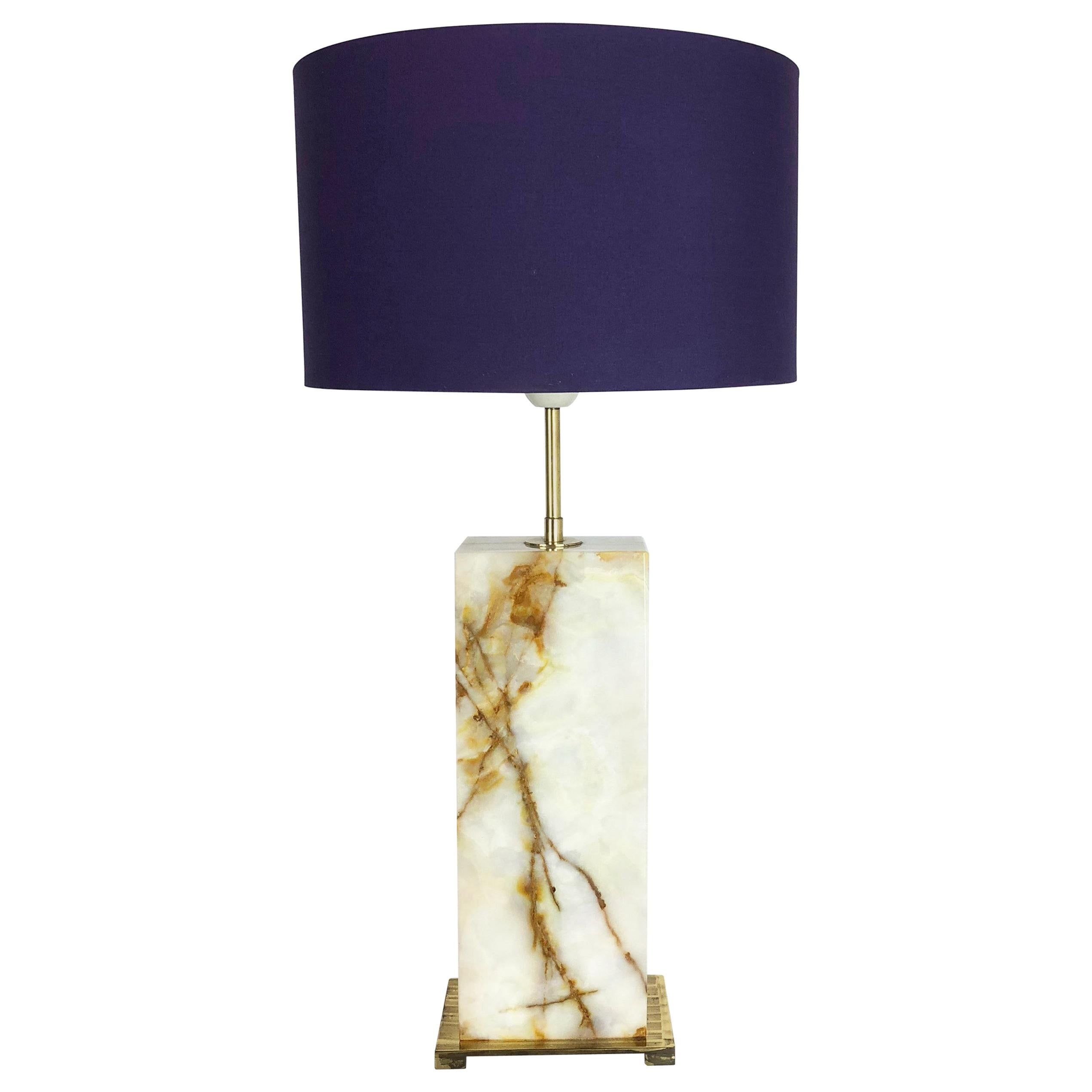 Vintage Hollywood Regency Onyx Marble Light Base Table Light, Italy, 1960s