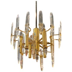 Vintage Hollywood Regency Sciolari Brass and Glass Chandelier, Pair Available