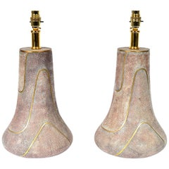 Vintage Hollywood Regency Shagreen Brass Table Lamps Maitland Smith Hong Kong