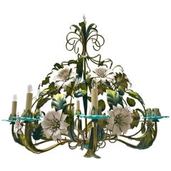 Vintage Hollywood Regency Tole Chandelier