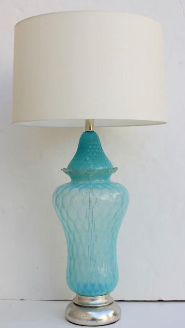 Mid-Century Modern Vintage Hollywood Regency Turquoise Quilted Murano Glass Table Lamp For Sale