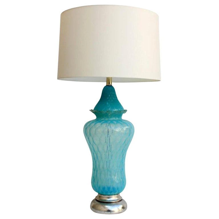 Vintage Hollywood Regency Turquoise Quilted Murano Glass Table Lamp For Sale
