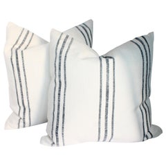 Vintage Homespun Linen Ticking Pillows / Pair