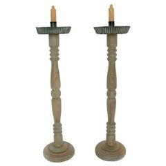 Vintage Honduran Tall Wooden Altar Candlesticks