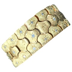 Vintage Honeycomb 14 Karat Yellow Gold Diamond Bracelet 0.60 Carat