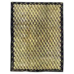 Vintage Hooked Beige and Blue Handwoven Wool Rug