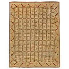 Vintage Hooked Beige & Brown Handwoven Wool Rug