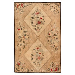 Vintage Hooked Beige and Red Handwoven Wool Rug