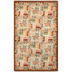 Vintage Hooked Cream Beige Floral Wool Rug