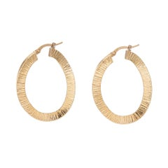 Vintage Hoop Earrings 18k Yellow Gold Textured Concave Estate Jewelry