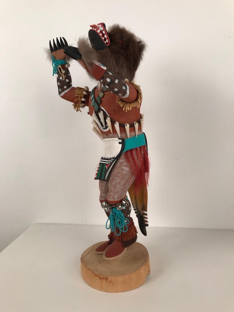 Vintage Hopi Kachina Dancing Bear Hand Carved Signed by Artist For Sale 3