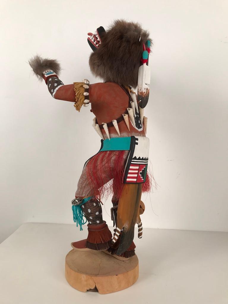 Vintage Hopi Kachina Dancing Bear Hand Carved Signed by Artist For Sale 5