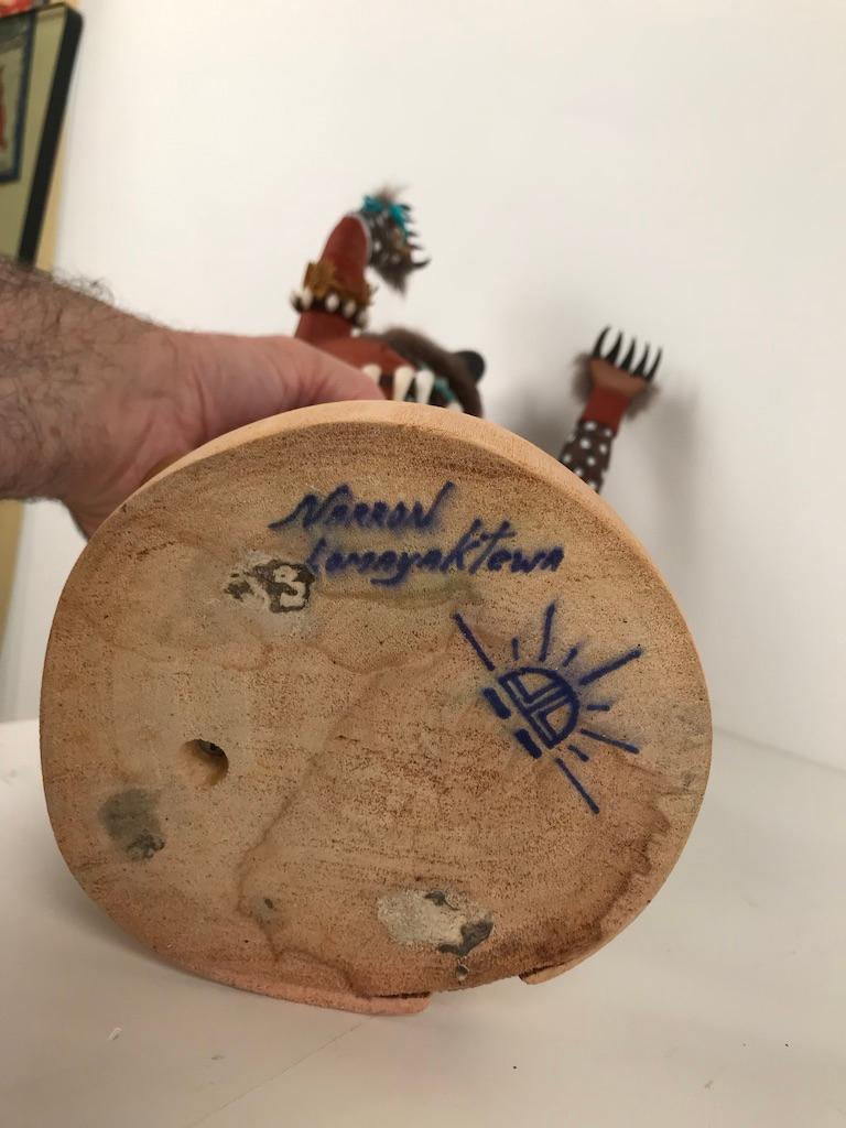 Vintage Hopi Kachina Dancing Bear Hand Carved Signed by Artist For Sale 6