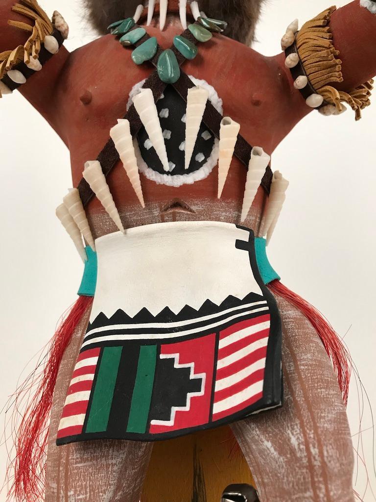 Vintage Hopi Kachina Dancing Bear Hand Carved Signed by Artist For Sale 7