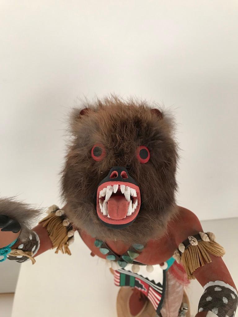 Vintage Hopi Kachina Dancing Bear Hand Carved Signed by Artist For Sale 8