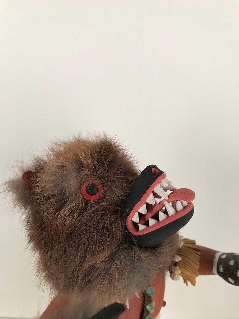 Vintage Hopi Kachina Dancing Bear Hand Carved Signed by Artist For Sale 9