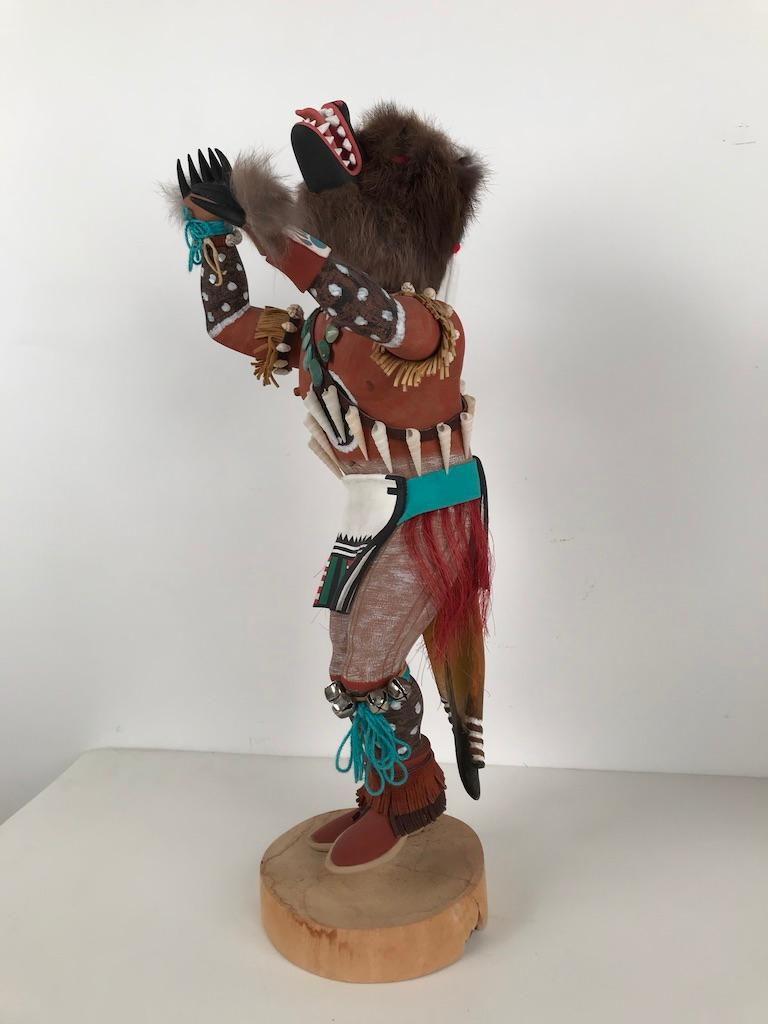 Very finely detailed Hopi kachina katsina doll is by Narron Lomyaktewa. Born 1946, he is on a list of Hopi artists in the Smithsonian Library, clearly a master carver. Reference from: 'Native Moderns: American Indian Painting, 1940–1960 by Bill