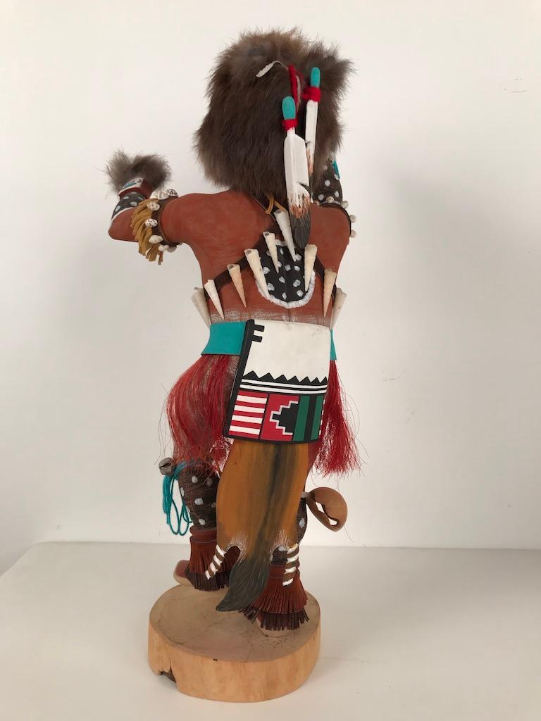 Vintage Hopi Kachina Dancing Bear Hand Carved Signed by Artist For Sale 12