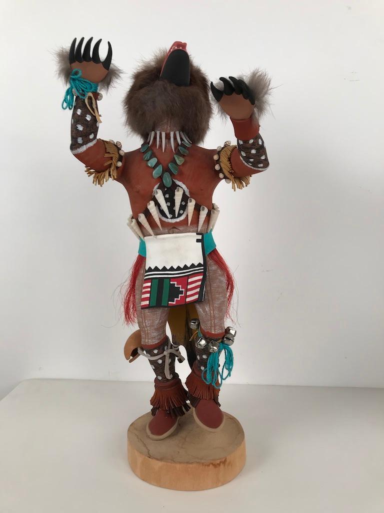 Native American Vintage Hopi Kachina Dancing Bear Hand Carved Signed by Artist For Sale