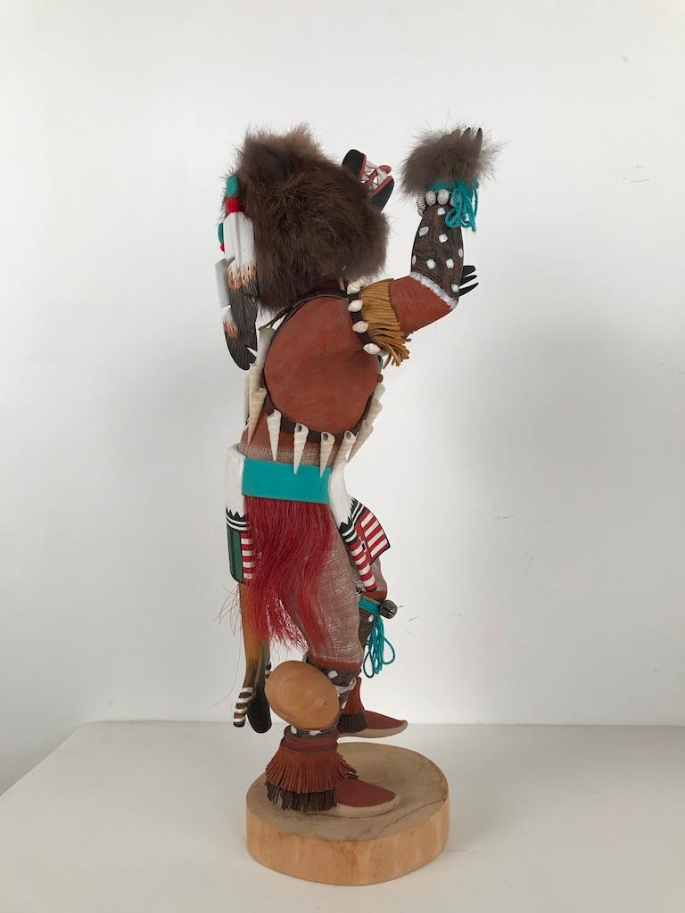 20th Century Vintage Hopi Kachina Dancing Bear Hand Carved Signed by Artist For Sale