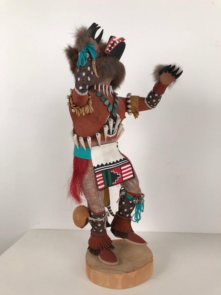 Wood Vintage Hopi Kachina Dancing Bear Hand Carved Signed by Artist For Sale